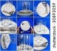 Collage of glasses, plates, covers on blue background. - stock photo