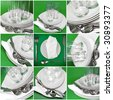Collage of glasses, plates, covers on green  background. - stock photo