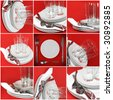 Collage of glasses, plates, covers on red background. - stock photo