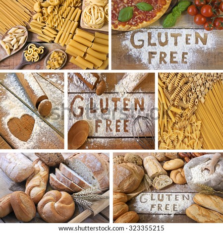 Collage of gluten free - food with background - stock photo