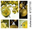 Collage of gold christmas decorations on different backgrounds - stock photo
