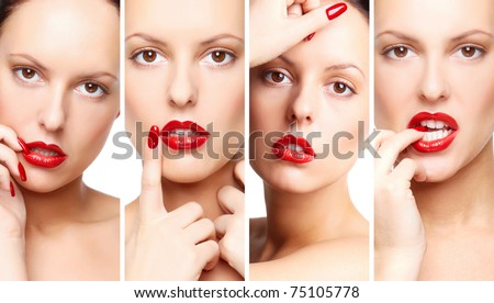 Collage of gorgeous woman with bright makeup - stock photo