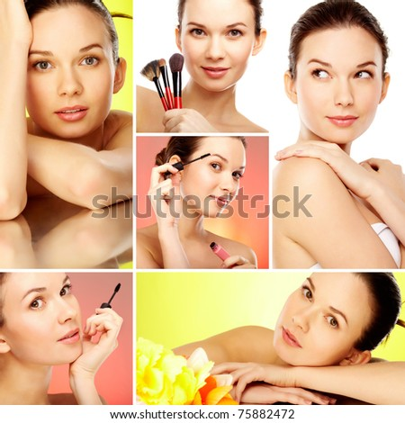 Collage of gorgeous woman with fashionable makeup - stock photo