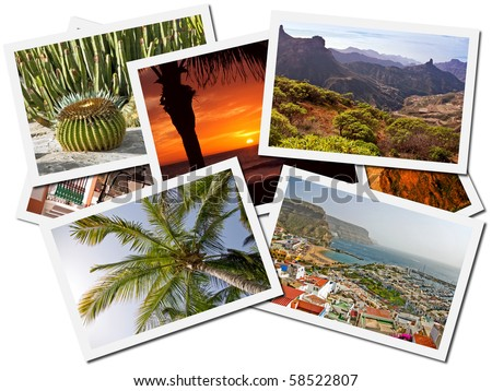 Collage of Gran Canaria, Canary Islands postcards isolated on white background - stock photo