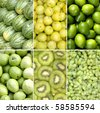 collage of green healthy fruits - stock photo