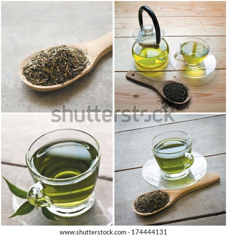 collage of green tea set, scoop and tea pot on wooden background - stock photo