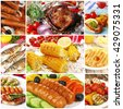 Collage of grilled food, close up - stock photo