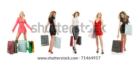 Collage of group smiling shopping girls with bags isolated over white background - stock photo