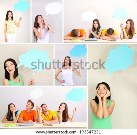 Collage of group young people with empty think bubbles - stock photo
