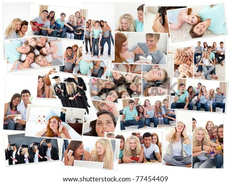 Collage of groups of young people having fun together in various situations