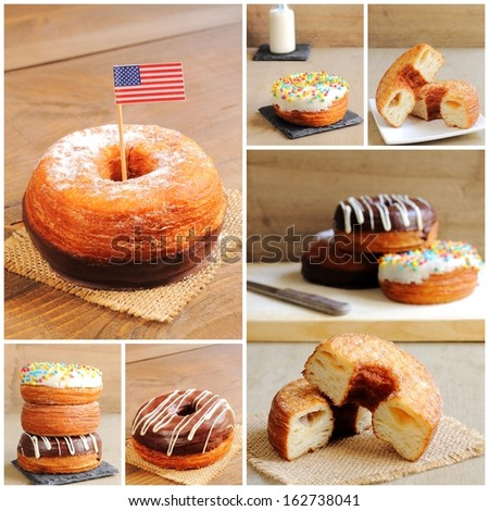 Collage of half croissant and half donut pastries - stock photo