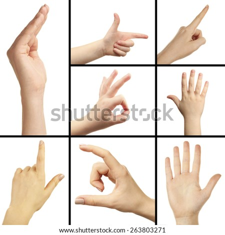 Collage of hand gestures - stock photo