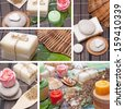 Collage of handmade Soap with natural ingredients over wooden background - stock photo