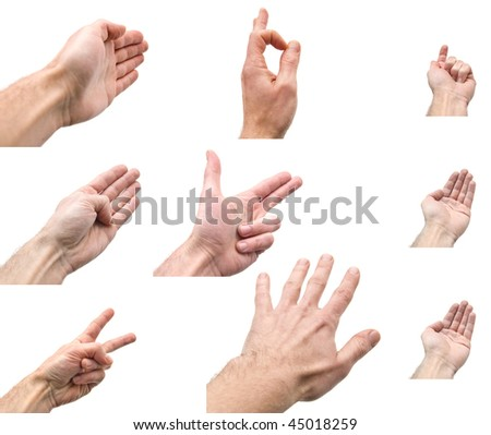 collage of hands on white background
