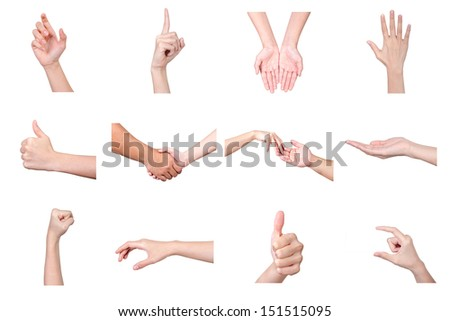 Collage of hands on white backgrounds  - stock photo