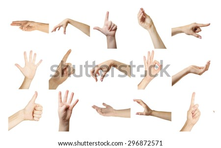Collage of  hands showing different gestures, isolated on white - stock photo