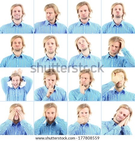 Collage of handsome emotional man isolated on white - stock photo