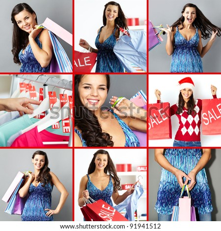 Collage of happy brunette with paperbags after shopping - stock photo
