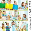 Collage of happy classmates at lesson in classroom - stock photo