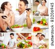 Collage of happy couple in the kitchen at home - stock photo