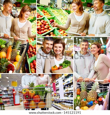 Collage of happy couple with cart choosing products in supermarket - stock photo