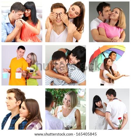 Collage of happy couples - stock photo