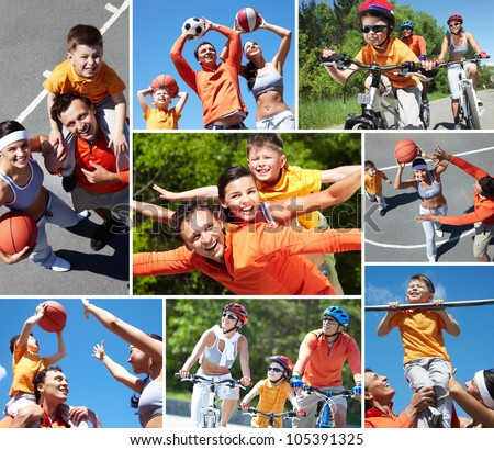 Collage of happy family at leisure in summer