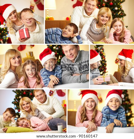 Collage of happy family members at home before Christmas - stock photo
