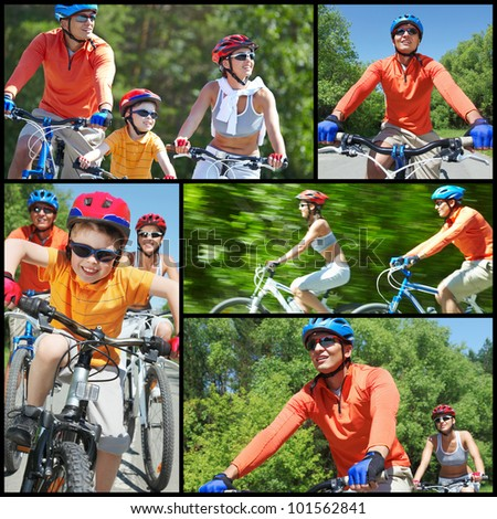 Collage of happy family riding on bicycles at leisure - stock photo