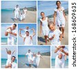 Collage of happy family running on the beach - stock photo