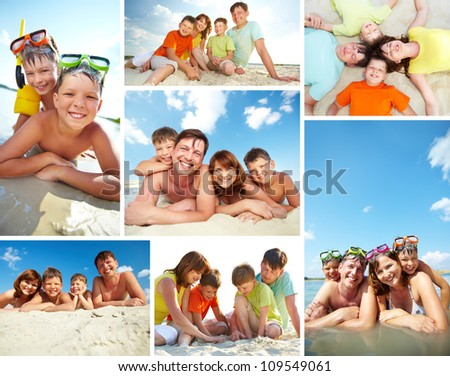 Collage of happy family spending summer vacation on resort - stock photo