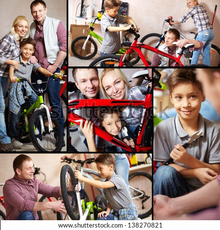 Collage of happy family with bicycles in garage - stock photo