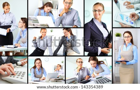 Collage of happy female colleagues working in office
