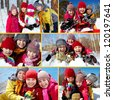 Collage of happy friends in winterwear having fun outside - stock photo
