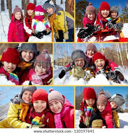 Collage of happy friends in winterwear having fun outside - stock photo