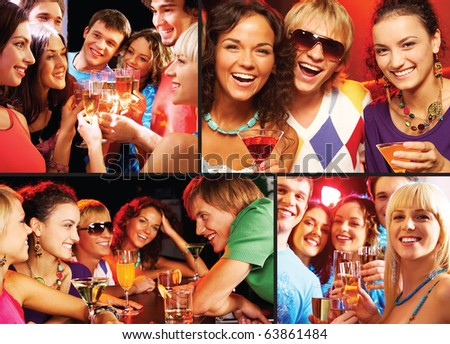 Collage of happy friends toasting and enjoying themselves at party - stock photo