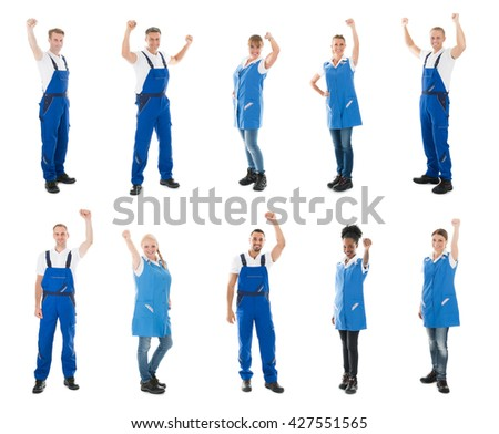 Collage Of Happy Janitors Raising Arms Against White Background