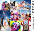Collage of happy kids in winterwear having fun outside - stock photo
