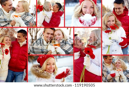 Collage of happy man and woman enjoying being together in winter - stock photo