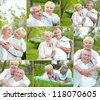 Collage of happy mature couple enjoying life outside - stock photo