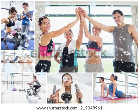 Collage of happy people at the gym against snow - stock photo