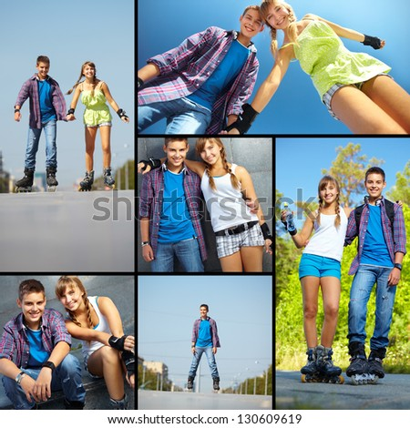 Collage of happy teens on roller skates spending free time outside - stock photo