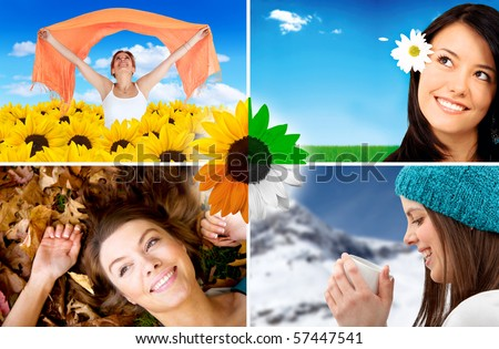 Collage of happy women portraits in different seasons - stock photo