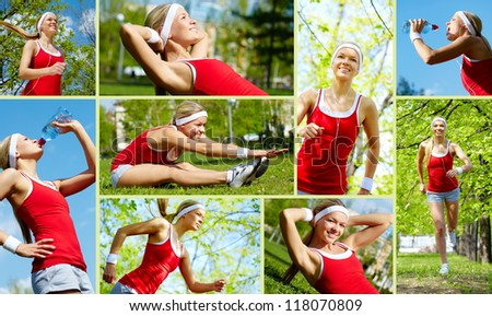 Collage of happy young woman jogging and exercising outside - stock photo