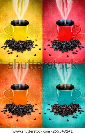 Collage of hdr colorful coffee mugs and coffee beans - stock photo