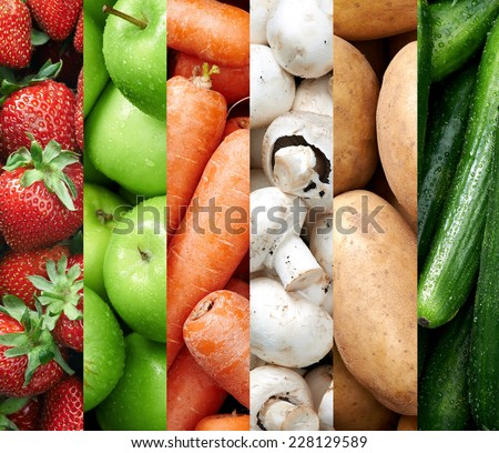 Collage of healthy food background raw fresh fruits and vegetables produce - stock photo