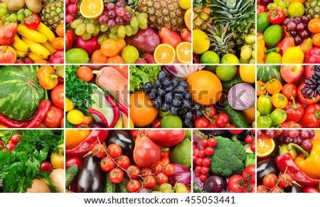 Collage of healthy foods. Fruits and vegetables. Background of useful products. Three photos for skinali. - stock photo