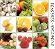 Collage of healthy fruit and vegetables - stock photo