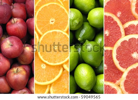 collage of healthy fruits and sliced citruses - stock photo
