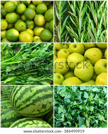 Collage of healthy organic green vegetables - apples, limes, water melons